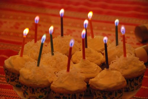 candles on birthday cupcakes