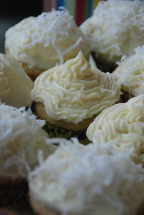 coconut cupcakes with frosting
