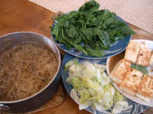 noodles, spinach, cabbage and tofu for sukiyaki