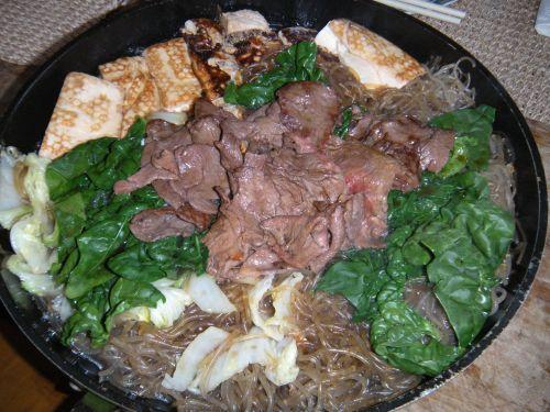 skillet with sukiyaki