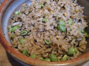 . . . brown rice with edamame and nori