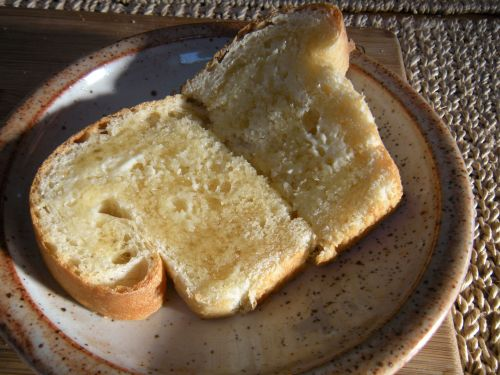 breakfast toast with butter and honey