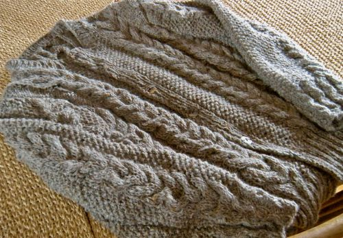"finished sweater in ""steamers"" yarn"