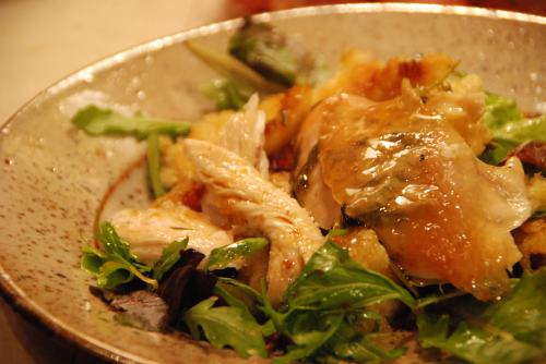 roast chicken on bread salad . . .