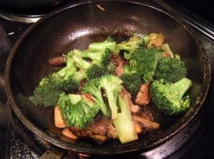 broccoli and shitake mushrooms