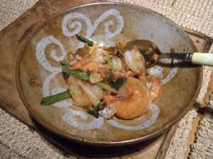 shrimp with garlic, scallions, ginger and mirin