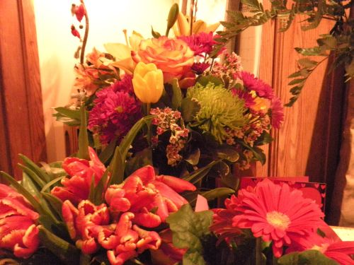 """get well"" flowers from my daughters and granddaughters . . ."