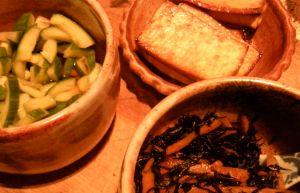hijiki & carrots; teriyaki tofu and cucumber salad for dinner. . .