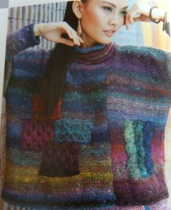 Noro pattern of a tunic sweater with patchwork