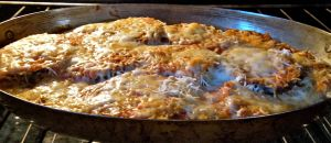 eggplant parm in the oven. . .