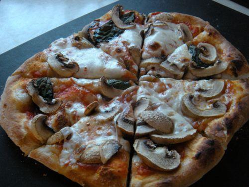 homemade mushroom pizza . . .