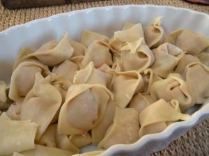 folded wontons ready to cook . . .
