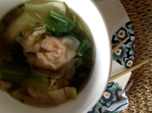 shrimp wonton and baby bok choy soup . . .