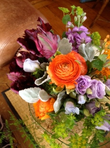 dark purple parrot tulips, orange ranunculus, wonderful ferns . . .