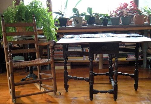 Pilgrim century chair and table . . .