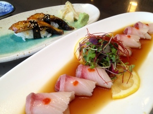 yellowtail sashimi and unagi sushi . . .