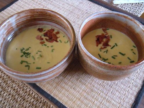corn soup with bacon and chives . . .