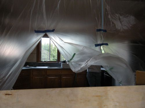 plastic sheeting to contain honing dust . . .