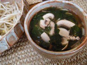 beef bone broth with udon, spinach and mushrooms . . .