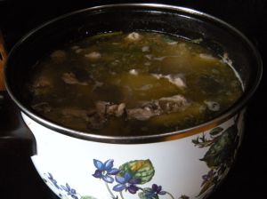 """tampopo"" broth with chicken and pork bones . . ."