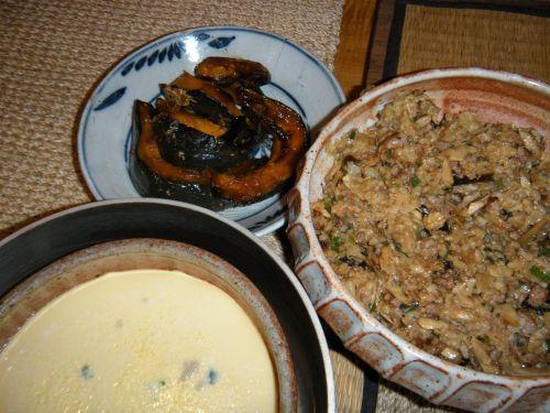 leftover fried rice, steamed eggs and glazed kabocha squash. . .