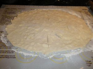 buttermilk biscuit crust rolled out