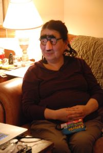 me as crone with groucho marx glasses on . . .