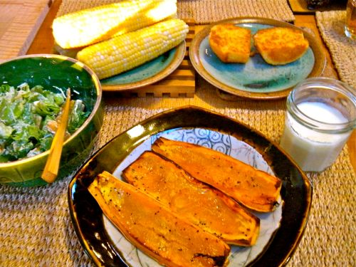 delicata squash with maple syrup, corn on the cob, corn muffin and caesar salad - buttermilk