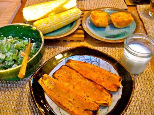 delicata squash with maple syrup, corn on the cob, corn muffin and caesar salad - buttermilk
