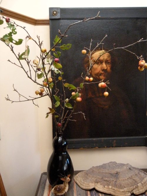"branches with fruit found around the pond with our 19th century ""self-portrait"" of Rembrandt"