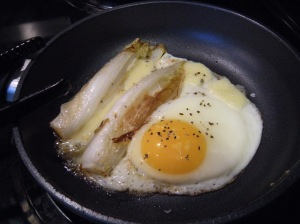 braised endive and egg with cheddar cheese