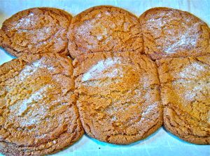 "a ""six-pack"" of large ginger-molasses cookies . . ."
