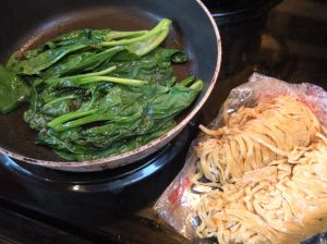 chinese spinach and fresh chinese noodles